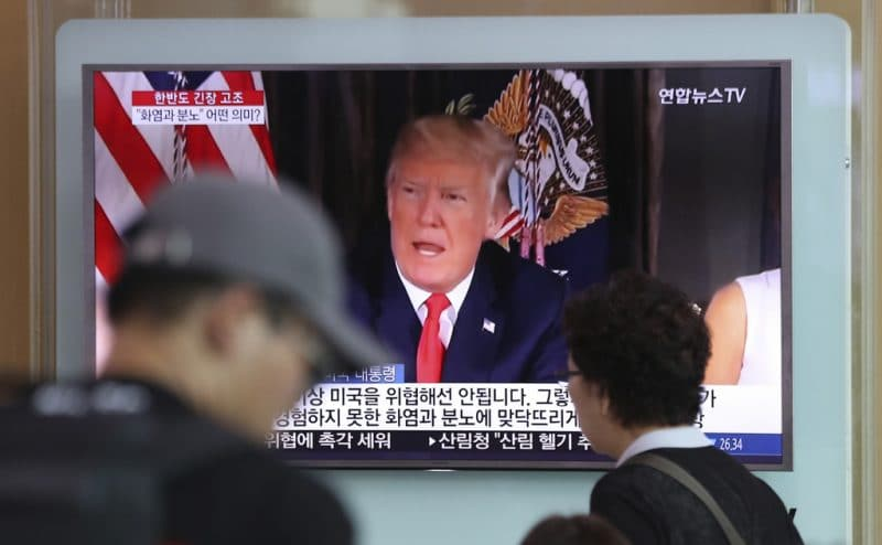 Trump giving Speech.(AP/Lee Jin-man)
