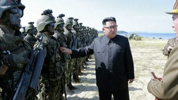 Image from video of Kim Jong Un inspecting soldiers.(KRT via AP Video)