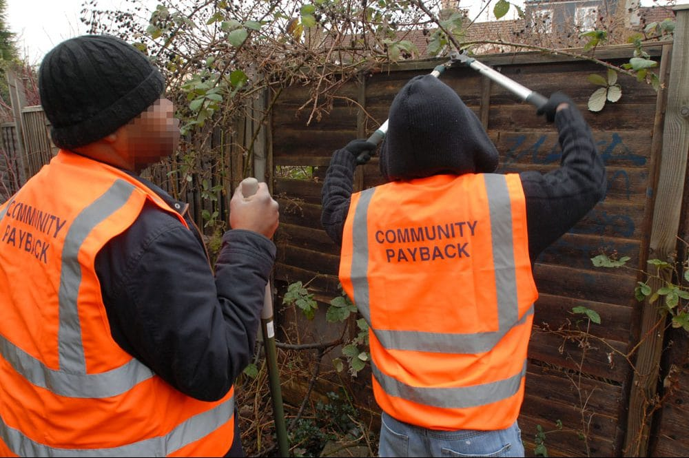 | Two men sentenced to perform unpaid community work wearing tabards emblazoned with Community Payback to make their punishment visible | MR Online