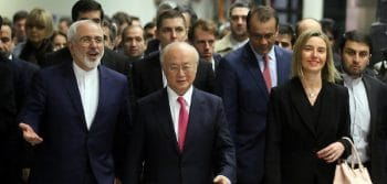 Federica Mogherini, Mohammad Javad Zarif, Yukiya Amano