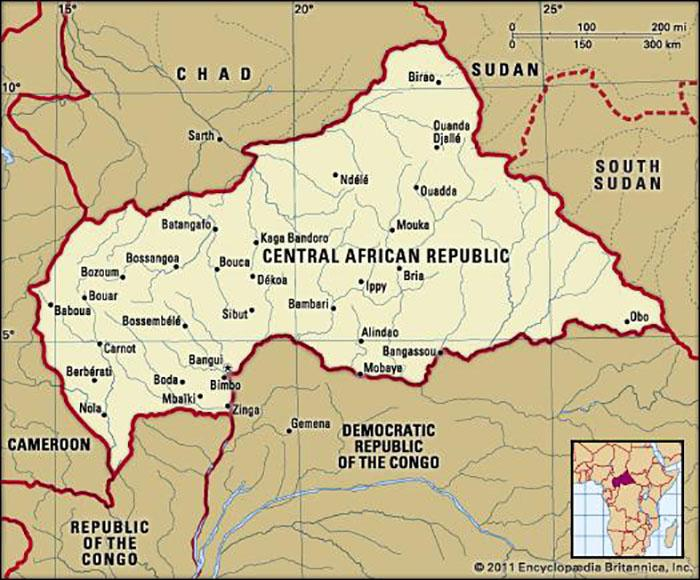 The Central African Republic, a former French colony, is a land-locked country located in central Africa. It is bordered by Chad to the north; Sudan to the north-east; South Sudan to the east; the Democratic Republic of the Congo and the Republic of Congo to the south; and Cameroon to the west. The country covers an area of 622,984 square kilometers, and is home to around 4.4 million inhabitants, according to estimations from 2008; while its capital and most populous city is Bangui. Photo: Britannica.com