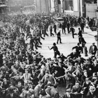 Riots between anti-Fascists and Blackshirts (British Fascists)