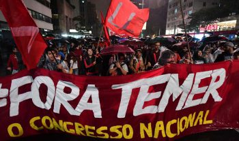 """People protest with the slogan """"Fora Temer"""" (Out with Temer) / Photo credit: The Week"""