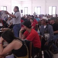 Participants of the Second Latin American Encounter of Anti Imperialist Communicators, gathered in Vallegrande, Bolivia. (Photo credit: Resumen Latinoamericano)