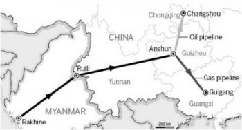 Route of the Yunnan pipelines