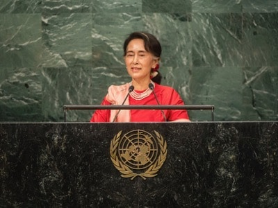 Aung San Suu Kyi sepaking before the General Assembly of the United Nations about the Rohingyas in September 2016