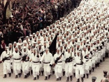 Oussama Ben Laden and the mujahideen parade in Zenica (Bosnia and Herzegovina) in 1995