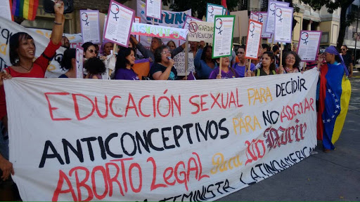 Venezuelan women's and feminist organisations marched on the ANC Thursday to demand the decriminalisation of abortion and the state provision of birth control. (KatrinaKozareck/Venezuelanalysis)