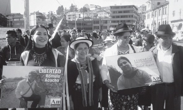 Participants in the Amnesty First march to Ecuador's Congress and Presidential Palace.
