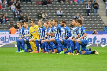 Hertha Berlin take a knee on Saturday October 14, 2017