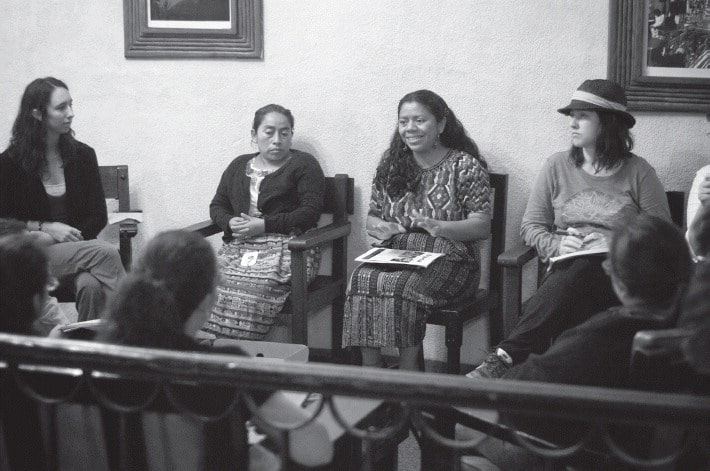 Lolita Chávez Ixcaquic (center) of the Quiché People's Council.
