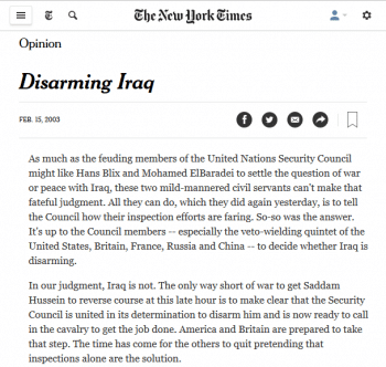 …and the invasion of Iraq (New York Times, 2/20/03).