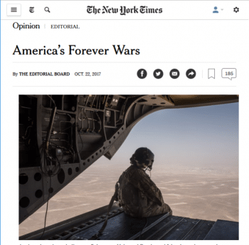 "In considering why ""the public is quiet"" about the United States' unending wars, the New York Times (10/23/17) fails to examine the failure of leading media outlets to actually oppose these wars."