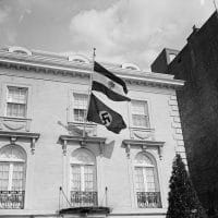 Nazi flag flies from Austrian legation in Washington, D.C. on March 12, 1938 (New York Public Library) .