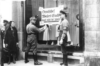Members of the Nazi Party leadership stage economic boycott against Jewish businesses