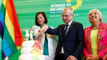 Greens Party members in Germany cut cake after legalizing same-sex marriage