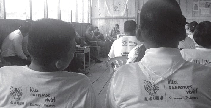 Participants in the Shuar Arutam assembly