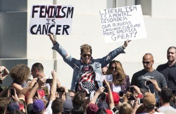 Milo Yiannopoulos at the University of California, Berkeley, on September 24, 2017