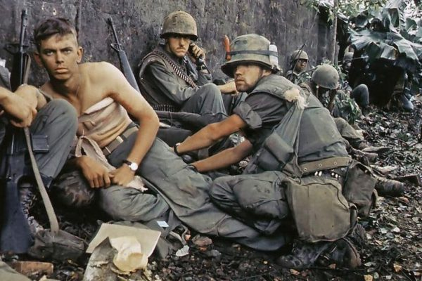 A Marine receives medical treatment in Vietnam
