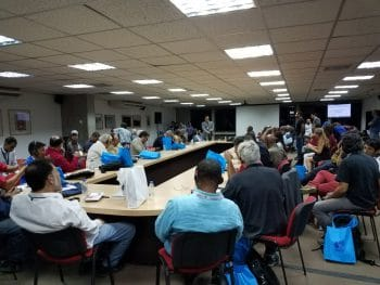 Delegates from Africa, the Caribbean, Europe and Asia participate in a multilingual working group debating proposals for solidarity campaigns with Venezuela. (Jeanette Charles/Venezuelanalysis)