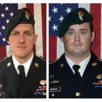 A combination photo of U.S. Army Special Forces Sergeant Jeremiah Johnson (L to R), U.S. Special Forces Sgt. Bryan Black, U.S. Special Forces Sgt. Dustin Wright and U.S. Special Forces Sgt. La David Johnson killed in Niger, West Africa, Oct. 4, 2017, in these handout photos released October 18, 2017.