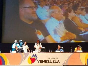 National Constituent Assembly President Delcy Rodríguez addresses international delegates and Venezuelan social movements during the inaugural address in Teresa Carreno Theater in Caracas. (Jeanette Charles/Venezuelanalysis)