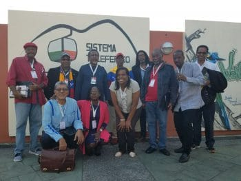 The Caribbean delegation representing Trinidad and Tobago, St. Lucia, Barbados, St. VIncent and the Grenadines, Dominica, Dominican Republic, and Belize outside of Waraira Repano national park in Caracas. (Jeanette Charles/Venezuelanalysis)