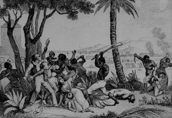 Depiction of the violent uprising of Black people during the Haitian Revolution in response to slavery and colonialism. (Incendie de la Plaine du Cap, Wikimedia Commons)