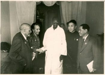 W. E. B. DuBois, Shirley Graham DuBois, Majhemout Diop, Zhou Yang and Mao Dun at the Afro-Asian Writers Conference in Tashkent, October 1958. W. E. B. Du Bois Papers (MS 312). Special Collections and University Archives, University of Massachusetts Amherst Libraries.