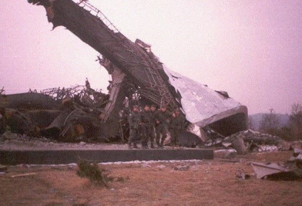 An image allegedly taken after the destruction of Monument to the Victory of the people of Slavonia in Croatia, 1992.