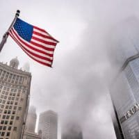 Trump Tower and Flag.
