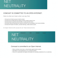 Comcast's net neutrality pledge, before and after the day (4/26/17) the FCC's Ajit Pai announced his plan to scale back net neutrality requirements. (Ars Technica, 11/29/17)