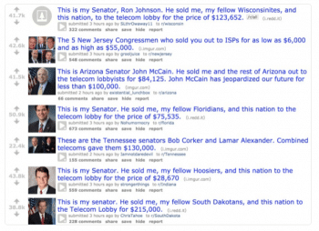 Reddit's front page, devoted to pointing out lawmakers who supported net neutrality–or sold it out. (image: Cory Doctorow, 1/11/17)