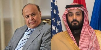 "Yemen's ""legitimate president"" Mansour Hadi and Saudi crown prince Mohammed bin Salman"