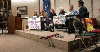 A group of five community members who briefly stopped the flow of oil of Canadian tar sands oil into the U.S. during a protest in October 2016, spoke at a Unitarian Universalist church in Corvallis, Oregon in February. They were arrested during their demonstration and their trial began this week. (Photo: Mina Carson/Flickr/cc)