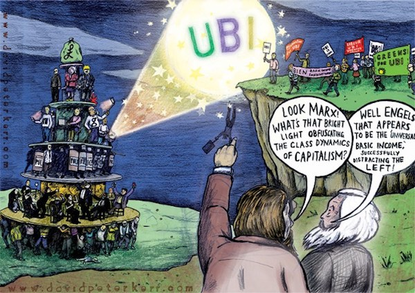 """A cartoon I made about UBI was also, 'highly commended,' in the 2017 Tony Farsky International Marx Bicentenary Cartoon, Poster and Caricature Competition,"" (Art by David Peter Kerr)"
