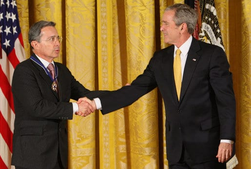 Uribe received the presidential medal of freedom from George W. Bush