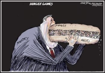 """""""Politics, power, greed are the real 'Hunger Games'"""""""