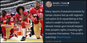 | A Twitter user illustrated the irony of Trump calling for respect for the peoples right to express themselvesin Iran | MR Online