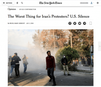 "The New York Times (1/2/18) publishes mock concern for Iranian protesters from someone who once quipped: ""I've written about 25,000 words about bombing Iran. Even my mom thinks I've gone too far."""