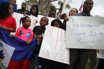Haitians protestesting Trump on the 8th anniversary of the massive earthquake in Haiti (January 12, 2018)