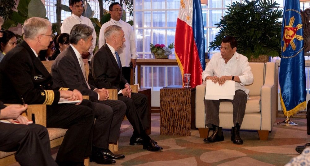 Defense Secretary James Mattis meets with the president of the Philippines, Rodrigo Duterte, during the Association of Southeast Asian Nations Defense Ministers (ASEAN) meeting in Clark, Philippines on Oct. 24, 2017. (Photo: DVIDS)