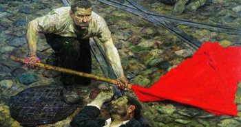 """Picking up the Banner 1957–1960"" painted by Gely Mikhailovich"
