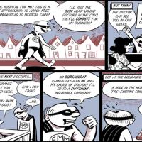 Utopia and healthcare cartoon. (Cartoon credit: Barry Deutsch)