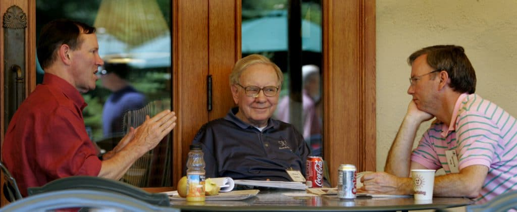 The Washington Post's Don Graham, Billionaire Warren Buffett and Google's Eric Schmidt chat at the annual Allen and Co.'s conference, July 7, 2005. (AP/Douglas C. Pizac)