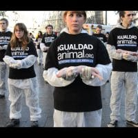 Igualdad Animal (Animal Equality) stages animal rights rally in Spain