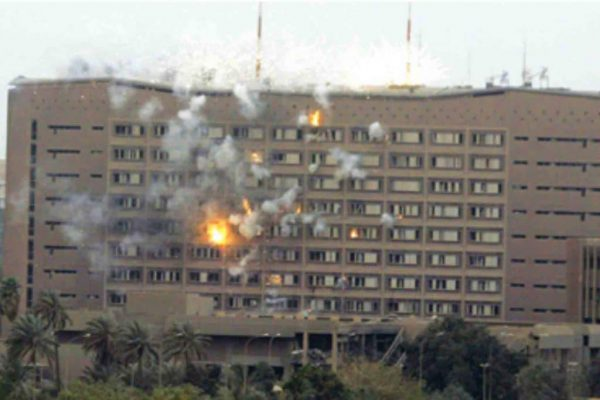 A10 firing depleted uranium at Iraq's Ministry of Planning on April 4, 2003