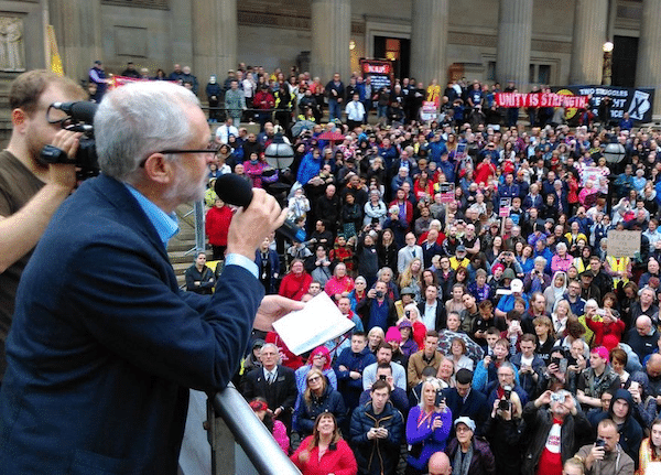 Corbyn speaking to the people
