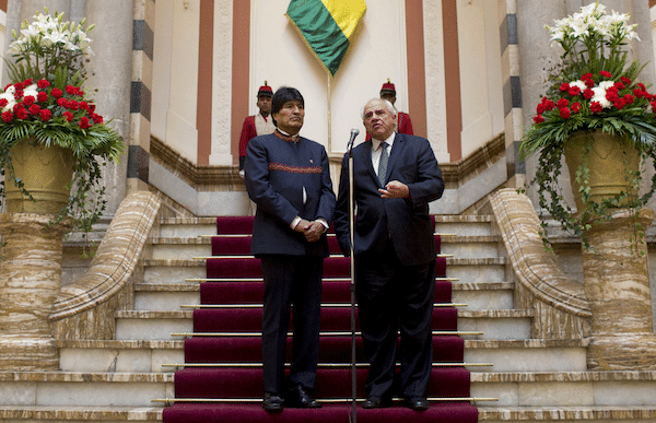 South American Nations Union (UNASUR) General Secretary Ernesto Samper, right, speaks to the press, next to Bolivia's President Evo Morales at the government palace in La Paz, Bolivia, Oct. 27, 2016. Samper is on an official visit to Bolivia (AP/Juan Karita)