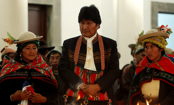 Bolivia's President Evo Morales, top, attends a ritual ceremony honoring Pachamama, Mother Earth, at the government palace in La Paz, Bolivia. (AP/Juan Karita)